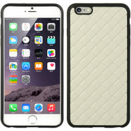 Rubberized Woven Leather Backing TPU Case for iPhone 6 - White