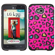 *$1 SALE* Hybrid Multi-Layer Armor Case for LG Ultimate 2 / Realm / Optimus L70 / Exceed 2 - Glittering Leopard Hot Pink
