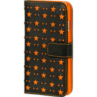 Stars Leather Folio Wallet Case for iPhone 6 - Orange