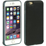 Elite Series Aluminum Leather BumperShield Hybrid Case for iPhone 6 - Black