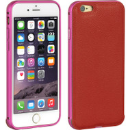 Elite Series Aluminum Leather BumperShield Hybrid Case for iPhone 6 / 6S - Red