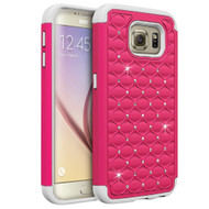 TotalDefense Diamond Hybrid Case for Samsung Galaxy S6 - Hot Pink White