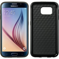 Carbon Fiber Design Rubberized TPU Skin Cover for Samsung Galaxy S6 - Black