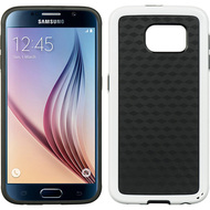 Carbon Fiber Design Rubberized TPU Skin Cover for Samsung Galaxy S6 - White