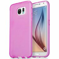Rubberized Crystal Case for Samsung Galaxy S6 - Hot Pink