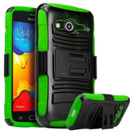 *SALE* Advanced Armor Hybrid Kickstand Case with Holster for Samsung Galaxy Core Prime / Prevail LTE - Black Green