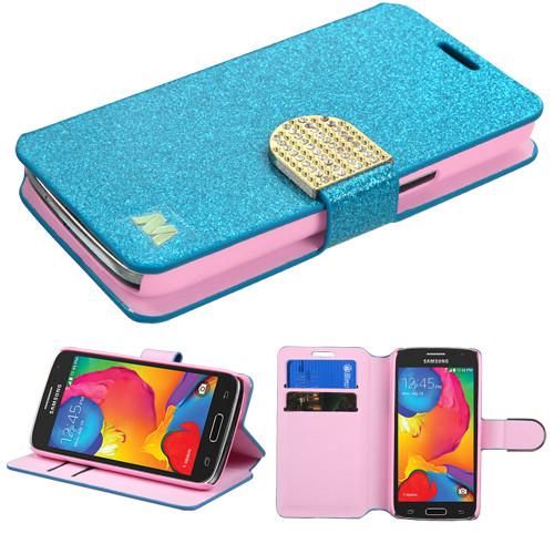 the best attitude 3aff9 e070b Glitter Leather Wallet Case for Samsung Galaxy Avant - Blue - HD ...