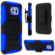 Advanced Armor Hybrid Kickstand Case with Holster for Samsung Galaxy S6 - Black Blue