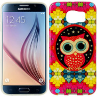 Graphic Rubberized Protective Gel Case for Samsung Galaxy S6 - Glitter Owl Hot Pink