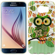 Graphic Rubberized Protective Gel Case for Samsung Galaxy S6 - Glitter Owl Green
