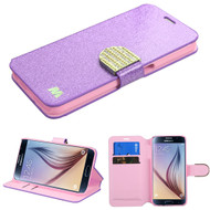 Glitter Leather Wallet Case for Samsung Galaxy S6 - Purple