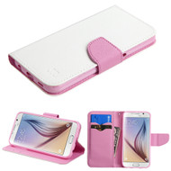 Diary Leather Wallet Case for Samsung Galaxy S6 - White