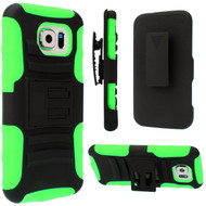 Advanced Armor Hybrid Kickstand Case with Holster for Samsung Galaxy S6 - Black Green