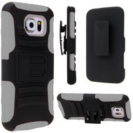 Advanced Armor Hybrid Kickstand Case with Holster for Samsung Galaxy S6 - Black Grey