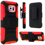 Advanced Armor Hybrid Kickstand Case with Holster for Samsung Galaxy S6 - Black Red