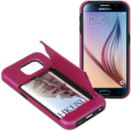 CardStand Credit Card Hybrid Case for Samsung Galaxy S6 - Hot Pink