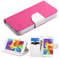 Diary Leather Wallet Case for Samsung Galaxy Core Prime / Prevail LTE - Hot Pink
