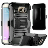 *SALE* Advanced Armor Hybrid Kickstand Case with Holster for Samsung Galaxy S6 Edge - Black Grey