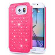 TotalDefense Diamond Hybrid Case for Samsung Galaxy S6 Edge - Hot Pink White