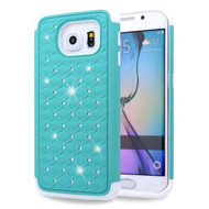 TotalDefense Diamond Hybrid Case for Samsung Galaxy S6 Edge - Baby Blue White