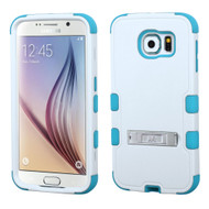 Military Grade Certified TUFF Hybrid Kickstand Case for Samsung Galaxy S6 - White Teal 364
