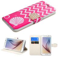 Art Design Portfolio Leather Wallet for Samsung Galaxy S6 - Shell Pink