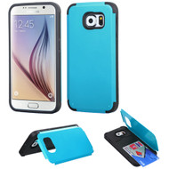 Credit Card Hybrid Kickstand Case for Samsung Galaxy S6 - Blue