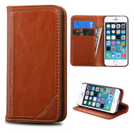 Mybat Genuine Leather Wallet Case for iPhone SE / 5S / 5 - Brown