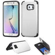 Credit Card Hybrid Kickstand Case for Samsung Galaxy S6 Edge - Silver
