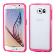 Bumper Frame Transparent Hybrid Case for Samsung Galaxy S6 - Hot Pink
