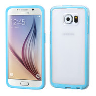 Bumper Frame Transparent Hybrid Case for Samsung Galaxy S6 - Baby Blue