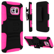 Advanced Armor Hybrid Kickstand Case with Holster for Samsung Galaxy S6 Edge - Black Hot Pink