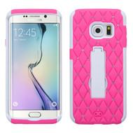 Impact Armor Spot Diamond Case for Samsung Galaxy S6 Edge - Hot Pink White