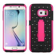 Impact Armor Spot Diamond Case for Samsung Galaxy S6 Edge - Black Hot Pink