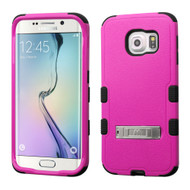Military Grade Certified TUFF Hybrid Kickstand Case for Samsung Galaxy S6 Edge - Hot Pink