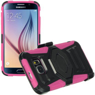 Octagon Armor Hybrid Kickstand Case with Holster for Samsung Galaxy S6 - Black Hot Pink