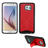 Bumper Frame Multi-View Hybrid Case for Samsung Galaxy S6 - Red