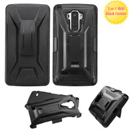 Tough Armor Hybrid Kickstand Case with Holster for LG G Stylo / Vista 2 - Black