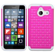 *Sale* TotalDefense Diamond Hybrid Case for Microsoft Lumia 640 XL - Hot Pink White