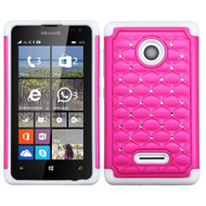 *Sale* TotalDefense Diamond Hybrid Case for Microsoft Lumia 435 - Hot Pink White