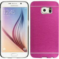 Aluminum Alloy Fusion Hybrid Case for Samsung Galaxy S6 - Hot Pink