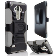 Advanced Armor Hybrid Kickstand Case with Holster for LG G Stylo / Vista 2 - Black Grey