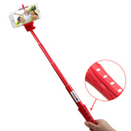 Bluetooth Wireless Selfie Stick with Shutter Control - Red