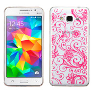Floral Rubberized Crystal Case for Samsung Galaxy Grand Prime - Hot Pink