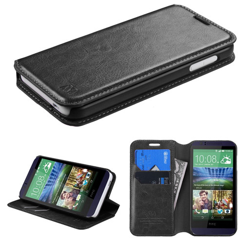 online store 6d4dc f3172 Book-Style Leather Folio Case for HTC Desire 512 / 510 - Black - HD ...