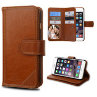 *SALE* Mybat D'Lux Genuine Leather Wallet Case for iPhone 6 Plus / 6S Plus - Brown