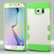 Military Grade Certified TUFF Trooper Dual Layer Hybrid Case for Samsung Galaxy S6 Edge - White Green