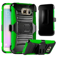 Advanced Armor Hybrid Kickstand Case with Holster for Samsung Galaxy S6 Edge Plus - Black Green