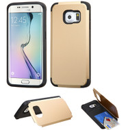 Credit Card Hybrid Kickstand Case for Samsung Galaxy S6 Edge Plus - Gold