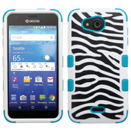 *Sale* Military Grade TUFF Image Hybrid Case for Kyocera Hydro Air / Hydro Wave - Zebra Teal